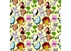 狮子企鹅卡通动物背景