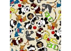 熊猫猴子卡通动物背景