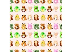 老虎猴子卡通动物背景