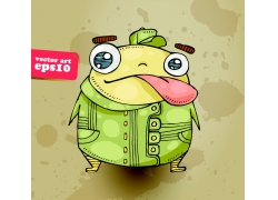 戴着帽子吐舌头的青蛙插画
