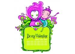 情人节卡通人物背景图片