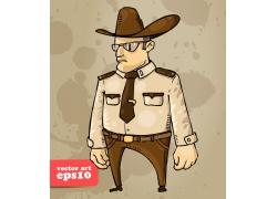 戴帽子的警察插画