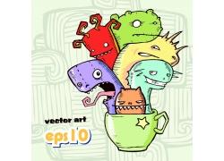 绿色杯子上五颜六色的怪兽插画