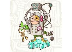 钥匙与怪物插画图片