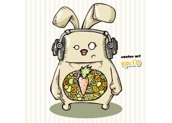 戴耳机的卡通兔子