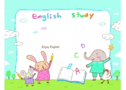 儿童英语教育动物漫画图片