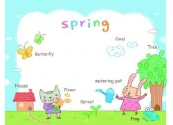 春天动物插画图片