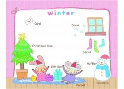 圣诞节动物插画图片