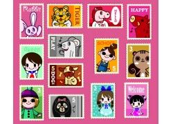 卡通动物和人物邮票图片