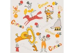 马戏团卡通动物和小丑图片