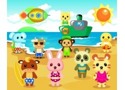海滩卡通动物素材图片