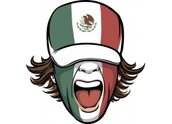 墨西哥国旗图案矢量人物头像