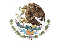 墨西哥国旗上鹰和蛇的矢量图案