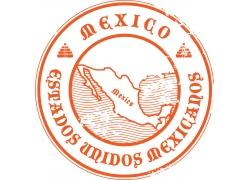 墨西哥地图圆形标签标识