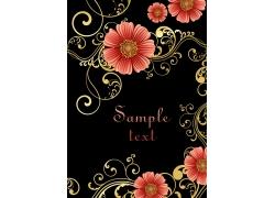 黑色背景卷纹花朵图案