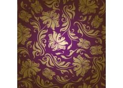 紫色背景金色花纹图案