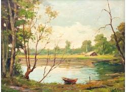 湖边自然风光背景