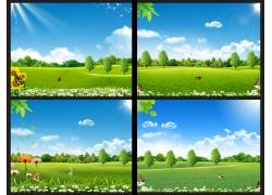蓝天白云草地广告背景图案