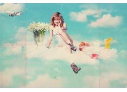 坐在云朵上的女孩图片