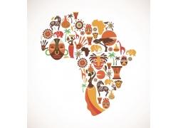 插画构成的非洲地图图片
