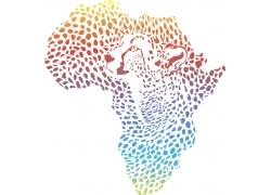 豹纹风格的渐变非洲地图图片
