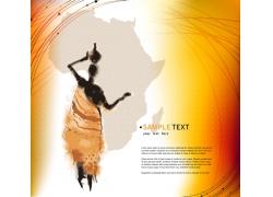 非洲地图前头顶瓶子的人插画图片