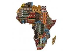 彩色圆环和菱形构成的非洲地图图片