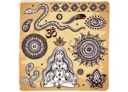 手绘长蛇和图案以及盘腿坐着的女人