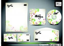 五彩花纹风格的公司VI设计模板