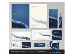 蓝色简约风格的公司VI设计模板
