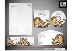 时尚棕色花纹风格的公司VI设计模板