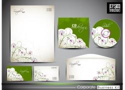 时尚绿色枝条风格的公司VI设计模板
