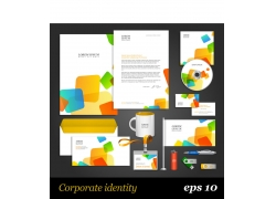 五彩方形公司VI设计模板