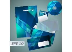 蓝色玻璃质感公司VI设计模板