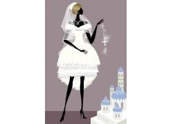 卡通新娘插画