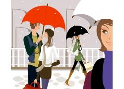 打雨伞的卡通情侣