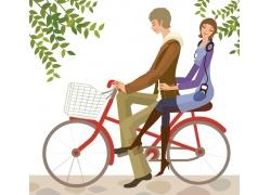 骑自行车的卡通情侣
