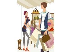 购物的卡通情侣