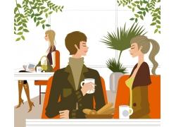 喝咖啡的卡通情侣