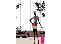 旅游购物美女插画图片
