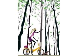 骑自行车的卡通美女图片