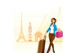 旅游的美女插画图片