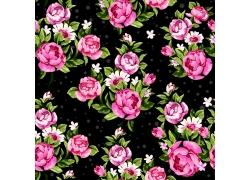 粉色花朵和绿叶底纹