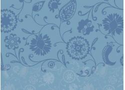 蓝色背景花纹图案