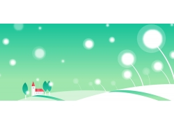 绿色天空下的地面和房屋绿树插画图片