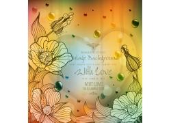 手绘花朵和心形文本框