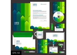 蓝绿色调VI设计模板