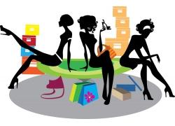 购物女性剪影图片
