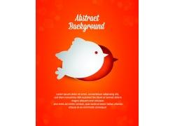 橙色背景上的白色小鸟