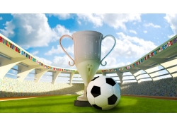 奖杯和足球